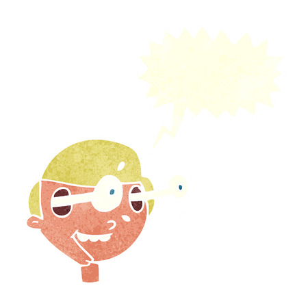 man looking out: cartoon excited boys face with speech bubble Illustration