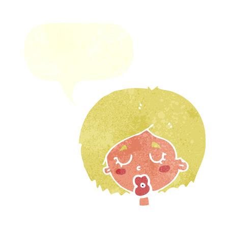 geschlossene augen: Cartoon Frau mit geschlossenen Augen mit Sprechblase