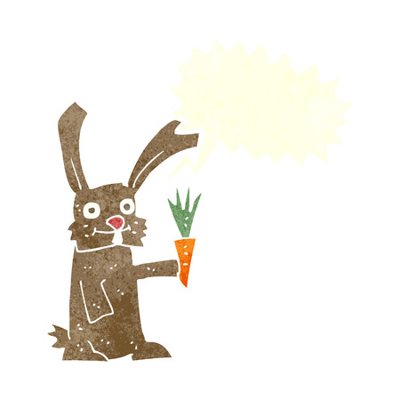 cartoon rabbit with carrot with speech bubble Vector