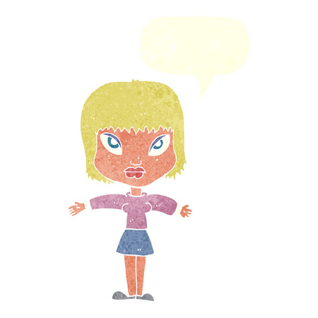cartoon woman with outstretched arms with speech bubble Vector