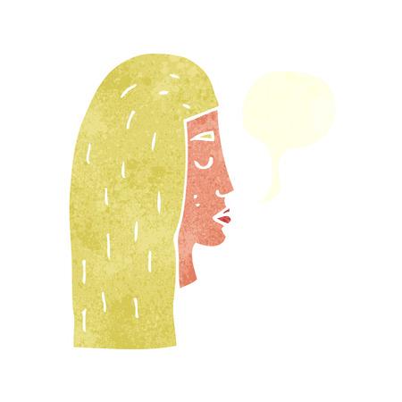 rostro de mujer de perfil: Perfil de la cara femenina de la historieta con la burbuja del discurso