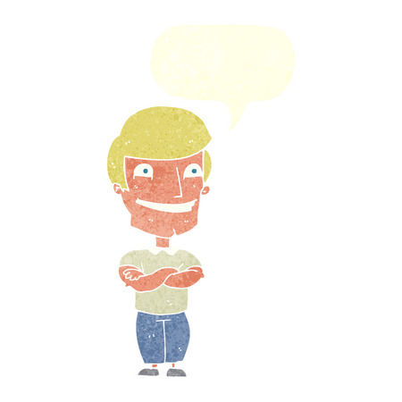 grinning: cartoon grinning man with speech bubble Illustration