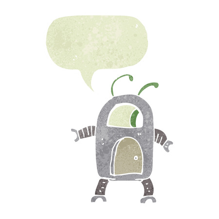 alien robot: cartoon alien robot with speech bubble