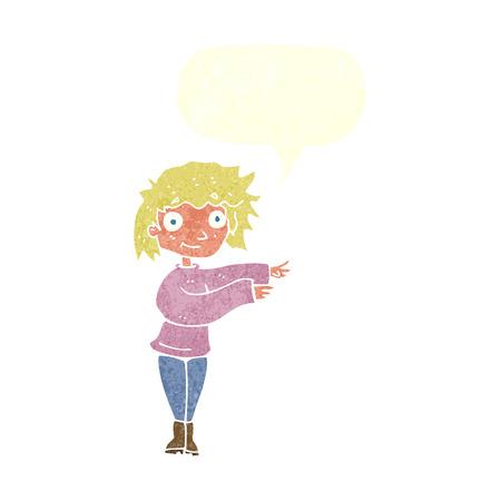 cartoon dancing woman with speech bubble Vector