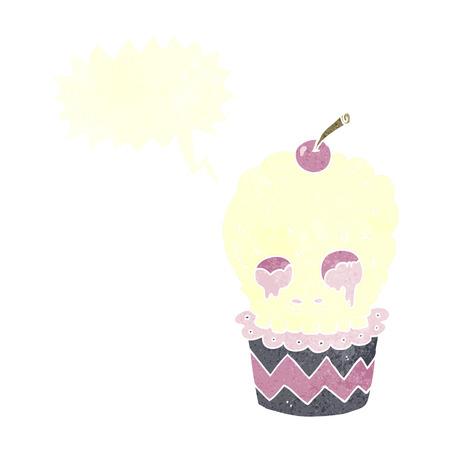spooky skull cupcake cartoon with speech bubble Vector