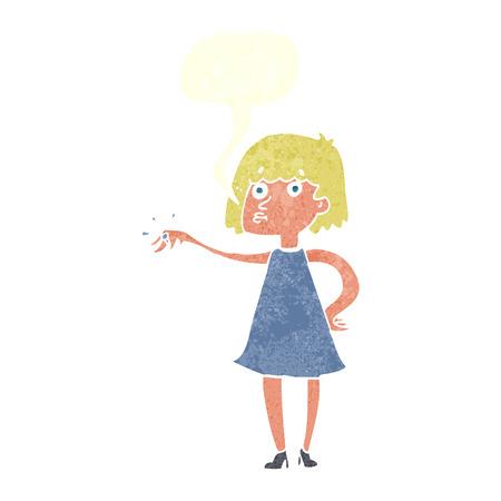 bague de fiancaille: femme de bande dessin�e montrant bague de fian�ailles avec bulle