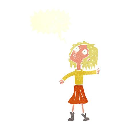 frau nach oben schauen: Cartoon Frau auf der Suche in den Himmel mit Sprechblase