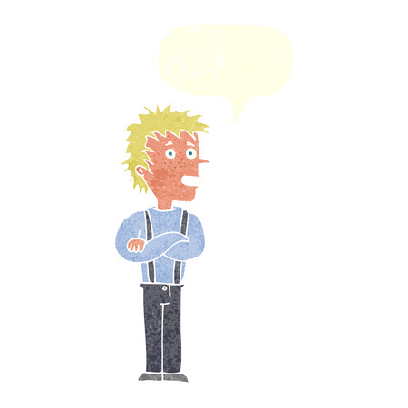 folded: cartoon boy with folded arms with speech bubble Illustration