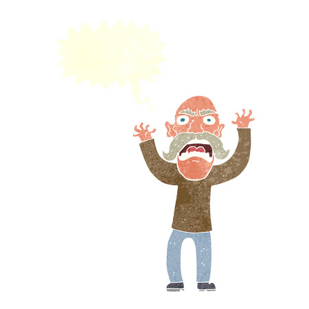 hostile: cartoon angry old man with speech bubble
