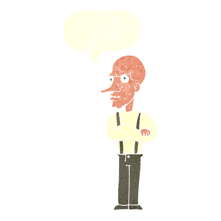 ugly man: cartoon mean old man with speech bubble Illustration