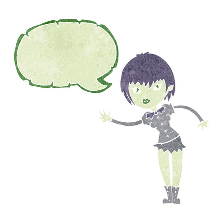 welcoming: cartoon vampire girl welcoming with speech bubble Illustration