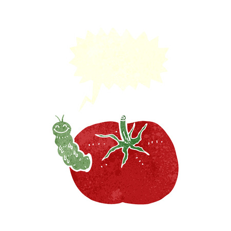 tomato caterpillar: cartoon tomato with bug with speech bubble