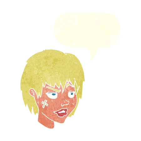 tough girl: cartoon woman with plaster on face with speech bubble