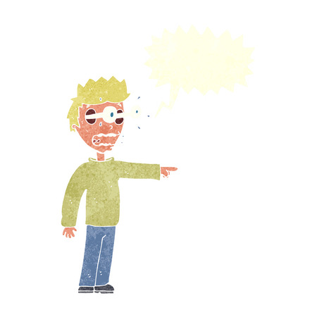 man looking out: cartoon man with popping out eyes with speech bubble Illustration