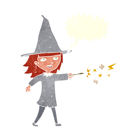 casting: cartoon witch girl casting spell with speech bubble