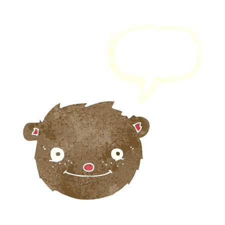 cartoon teddy bear head with speech bubble Vector