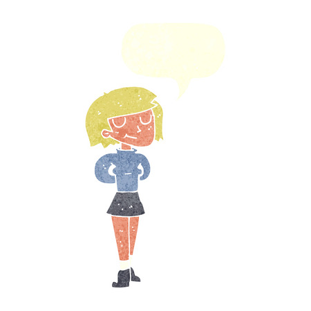 pleased: cartoon pleased woman with speech bubble Illustration