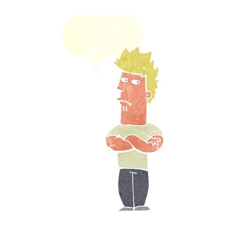 sulking: cartoon man sulking with speech bubble