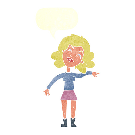 joking: cartoon woman only joking with speech bubble Illustration