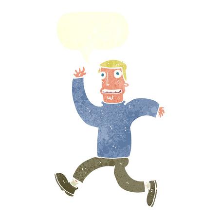 afraid man: cartoon terrified man with speech bubble