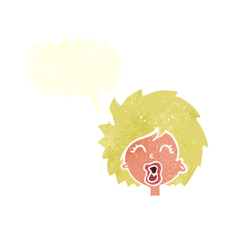 cartoon woman screaming with speech bubble Vector