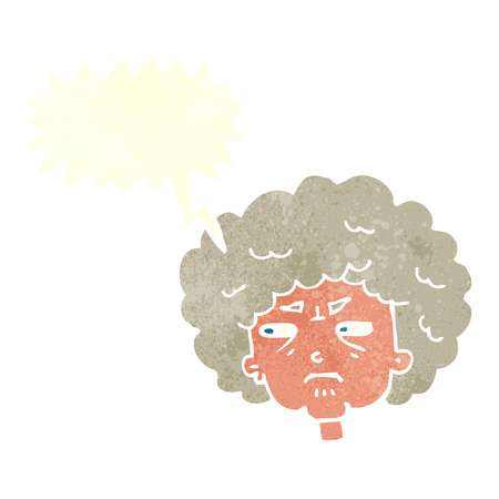 bitter: cartoon bitter old woman with speech bubble Illustration
