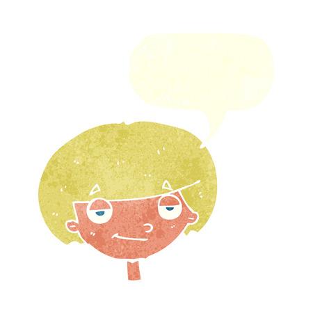 smug: cartoon smug looking boy with speech bubble Illustration