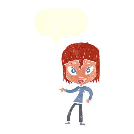 relajado: dibujos animados mujer relajada se�alando con bocadillo Vectores