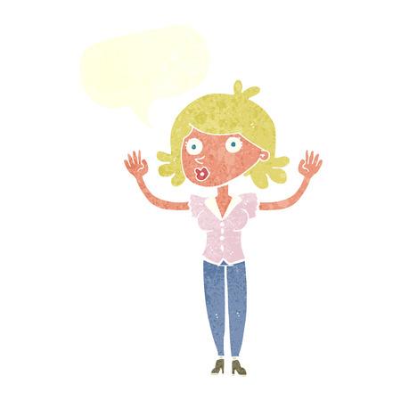 surrendering: cartoon woman surrendering with speech bubble Illustration