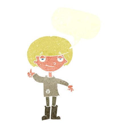 poor: cartoon boy in poor clothing giving thumbs up symbol with speech bubble Illustration
