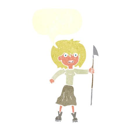 harpoon: cartoon woman with harpoon with speech bubble