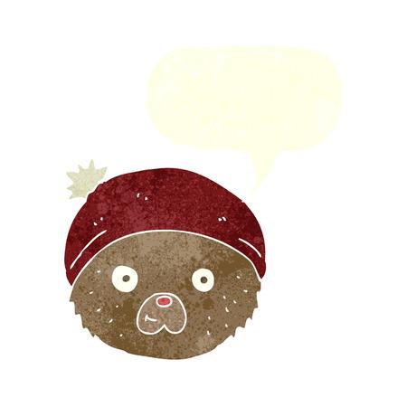 cartoon teddy bear face with speech bubble Vector