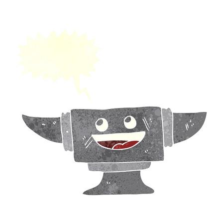 anvil: cartoon blacksmith anvil with speech bubble