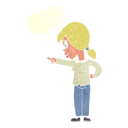 enthusiastic: cartoon enthusiastic woman pointing with speech bubble
