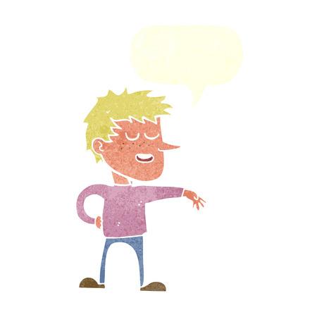 dismissive: cartoon man making dismissive gesture with speech bubble