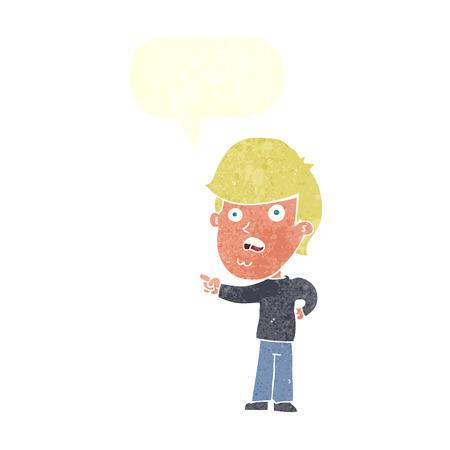 shocked man: cartoon shocked man pointing with speech bubble Illustration