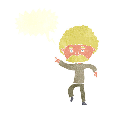 the seventies: cartoon seventies style man disco dancing with speech bubble