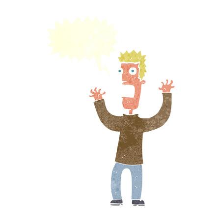 terrified: cartoon terrified man with speech bubble