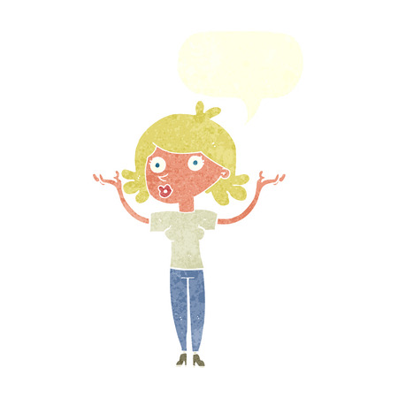 woman throwing: cartoon woman throwing arms in air with speech bubble