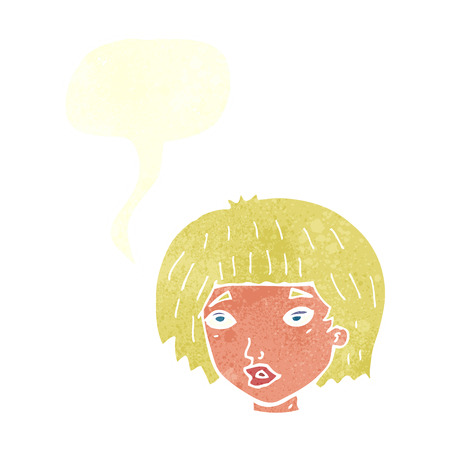 jaded: cartoon bored looking woman with speech bubble