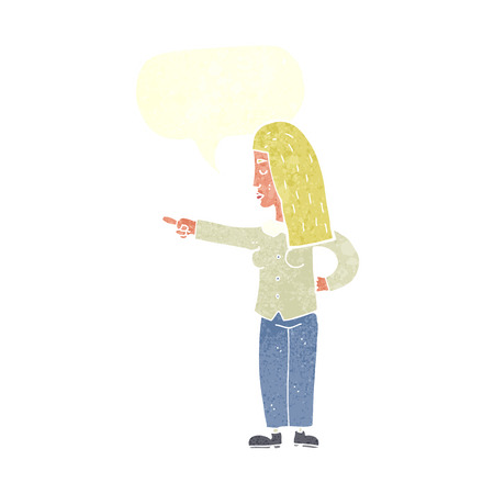 accuser: femme de bande dessin�e montrant avec bulle