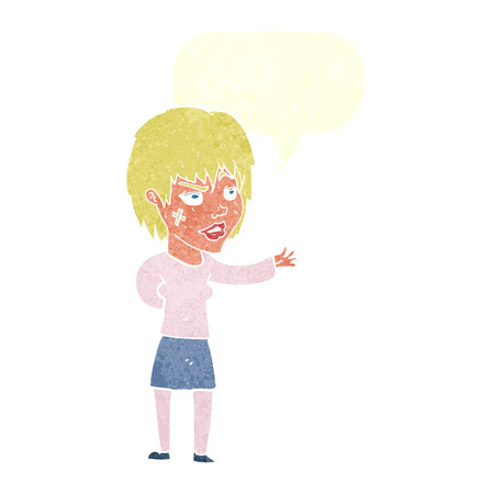 sticking: cartoon woman with sticking plaster on face with speech bubble Illustration
