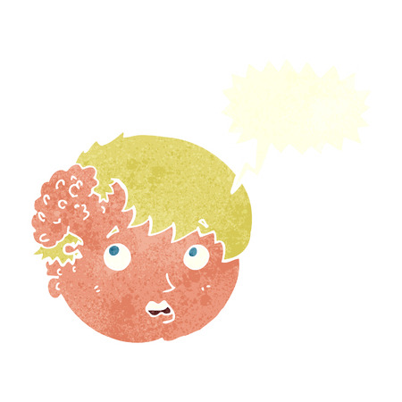 ugly man: cartoon boy with ugly growth on head with speech bubble