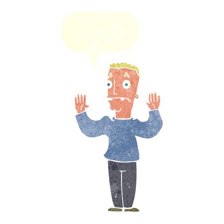 surrendering: cartoon man surrendering with speech bubble