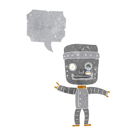 talking robot: cartoon funny old robot with speech bubble