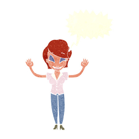 hands in the air: cartoon pretty woman with hands in air with speech bubble Illustration
