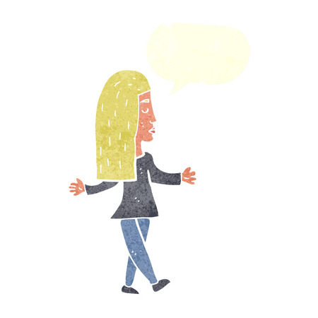 unconcerned: cartoon woman shrugging shoulders with speech bubble