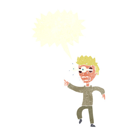 popping: cartoon man with popping out eyes with speech bubble Illustration