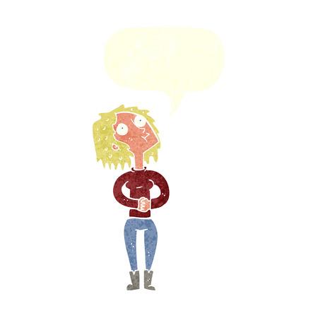 upwards: cartoon woman looking upwards with speech bubble