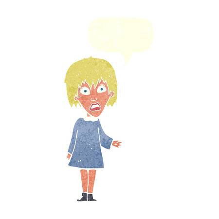 aghast: cartoon shocked woman with speech bubble Illustration